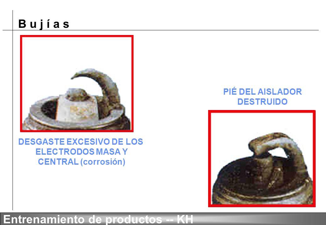 B u j í a s Entrenamiento de productos -- KH ELECTRODOS CENTRAL Y MASA FUNDIDOS DESGASTE EXCESIVO DEL ELECTRODO CENTRAL (erosión)