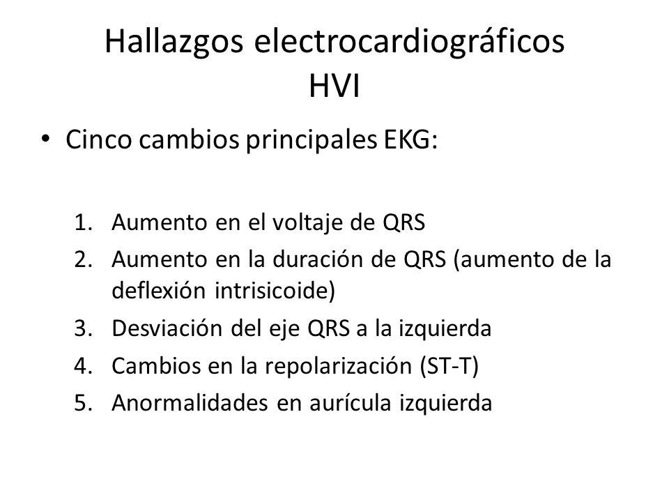 Hallazgos electrocardiográficos HVI Cinco cambios principales EKG: 1.Aumento en el voltaje de QRS 2.Aumento en la duración de QRS (aumento de la defle