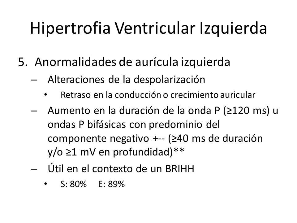 Hipertrofia Ventricular Izquierda 5.Anormalidades de aurícula izquierda – Alteraciones de la despolarización Retraso en la conducción o crecimiento au