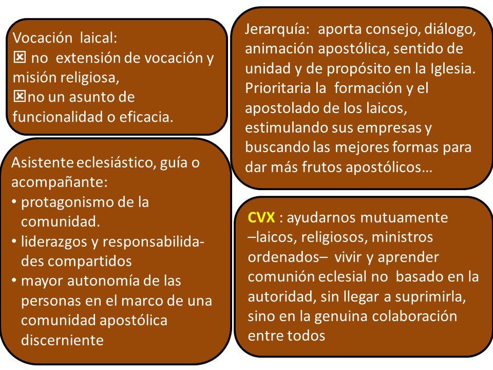 CVX y Misión de la SJ CG 34 D13 SJ reconoce la necesidad de una mayor relación entre laicos y religiosos.