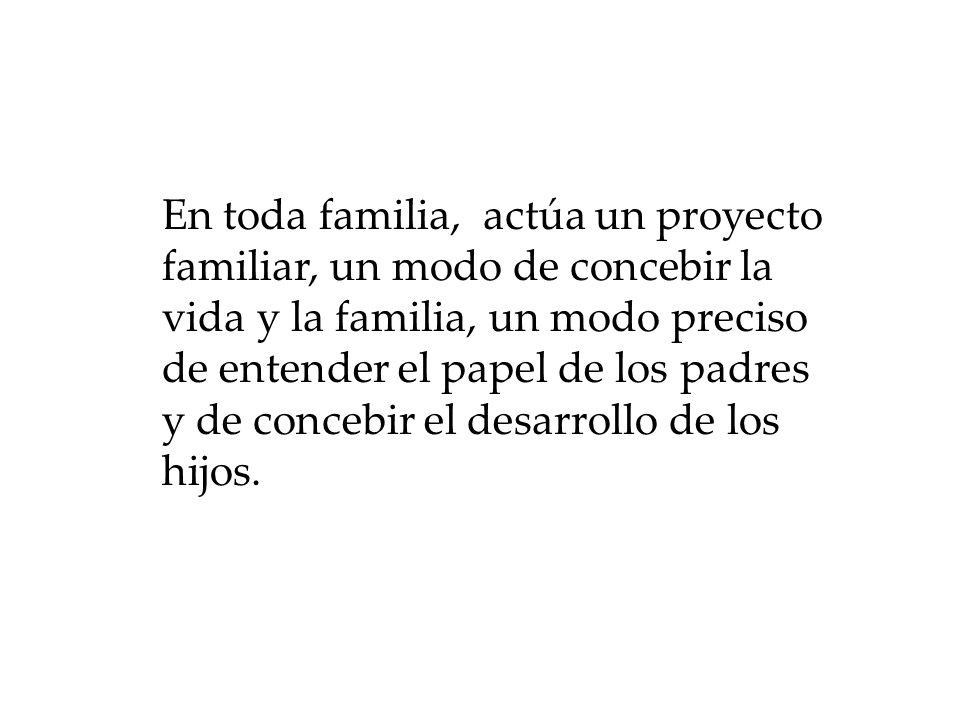 En toda familia, actúa un proyecto familiar, un modo de concebir la vida y la familia, un modo preciso de entender el papel de los padres y de concebi
