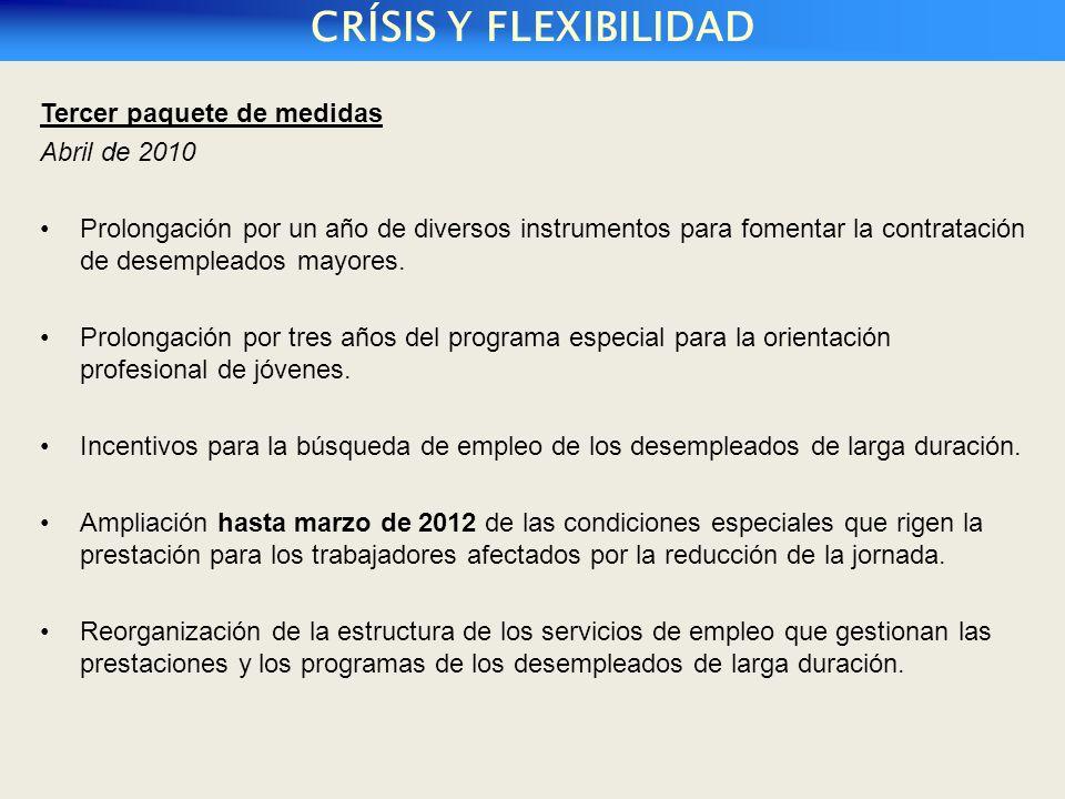 Tercer paquete de medidas Abril de 2010 Prolongación por un año de diversos instrumentos para fomentar la contratación de desempleados mayores.