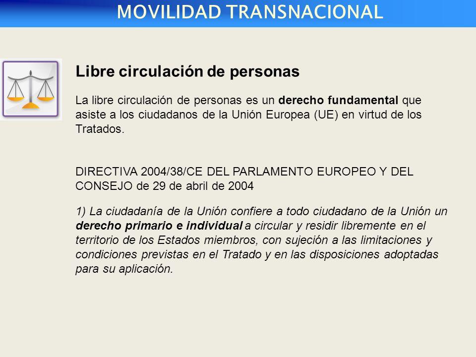 MOVILIDAD TRANSNACIONAL Libre circulación de personas La libre circulación de personas es un derecho fundamental que asiste a los ciudadanos de la Unión Europea (UE) en virtud de los Tratados.