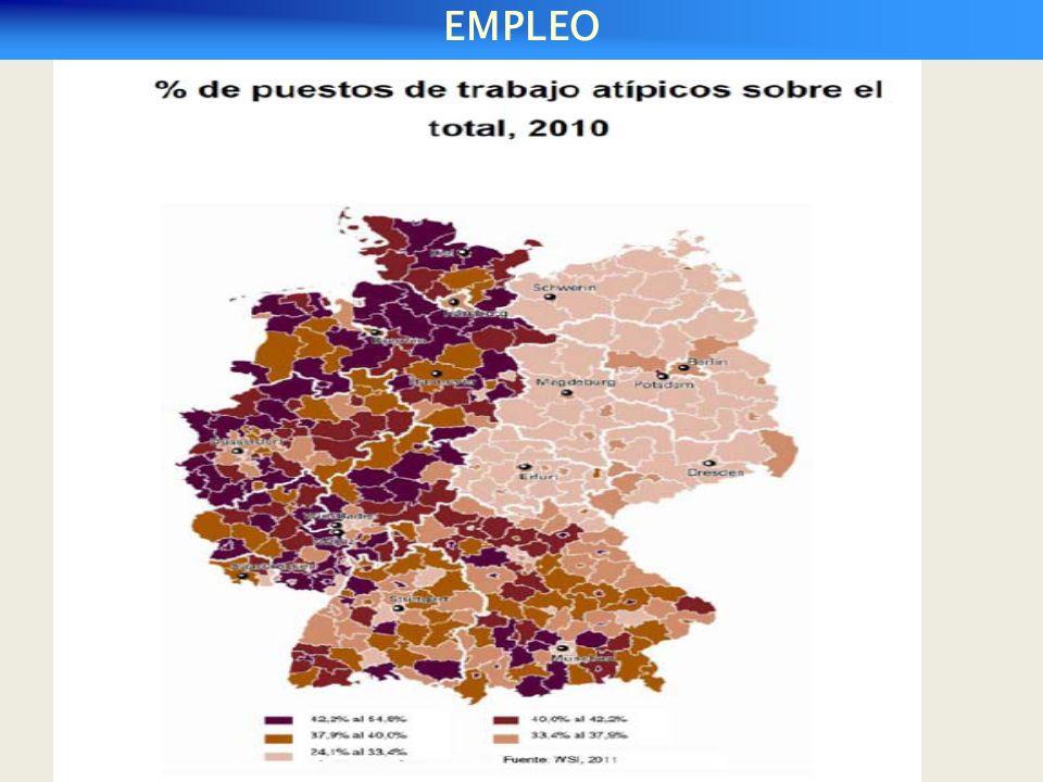 Cuota de desempleo en Alemania, mayo de 2010 (entre paréntesis 2009) EMPLEO