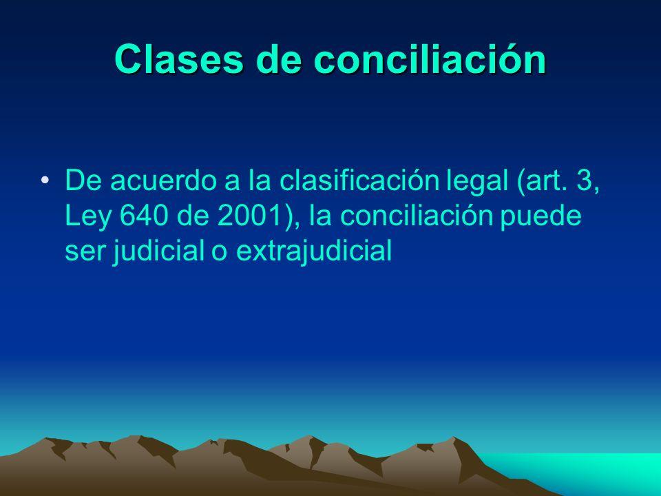 Clases de conciliación De acuerdo a la clasificación legal (art. 3, Ley 640 de 2001), la conciliación puede ser judicial o extrajudicial