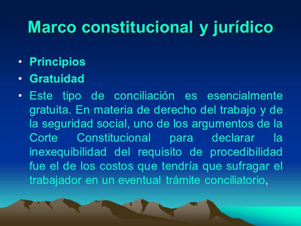 Marco constitucional y jurídico Principios Gratuidad Este tipo de conciliación es esencialmente gratuita. En materia de derecho del trabajo y de la se