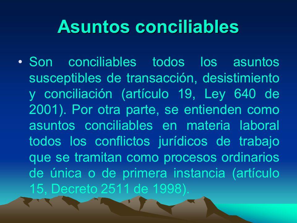 Asuntos conciliables Son conciliables todos los asuntos susceptibles de transacción, desistimiento y conciliación (artículo 19, Ley 640 de 2001). Por