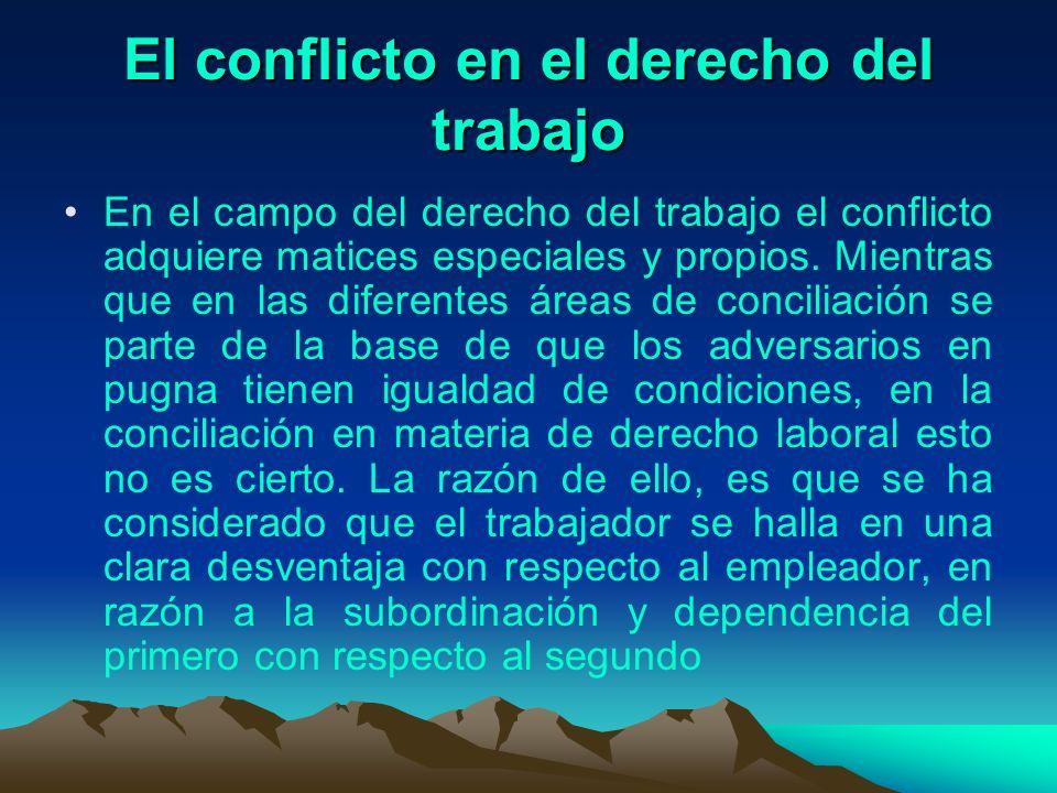 El conflicto en el derecho del trabajo En el campo del derecho del trabajo el conflicto adquiere matices especiales y propios. Mientras que en las dif
