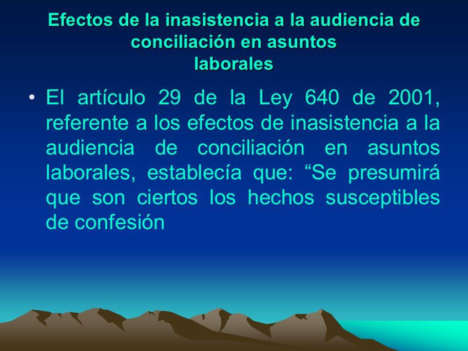 Efectos de la inasistencia a la audiencia de conciliación en asuntos laborales El artículo 29 de la Ley 640 de 2001, referente a los efectos de inasis
