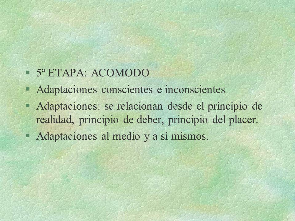 §5ª ETAPA: ACOMODO §Adaptaciones conscientes e inconscientes §Adaptaciones: se relacionan desde el principio de realidad, principio de deber, principi