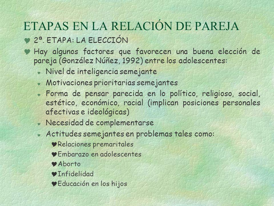 ETAPAS EN LA RELACIÓN DE PAREJA 2ª. ETAPA: LA ELECCIÓN Hay algunos factores que favorecen una buena elección de pareja (González Núñez, 1992) entre lo