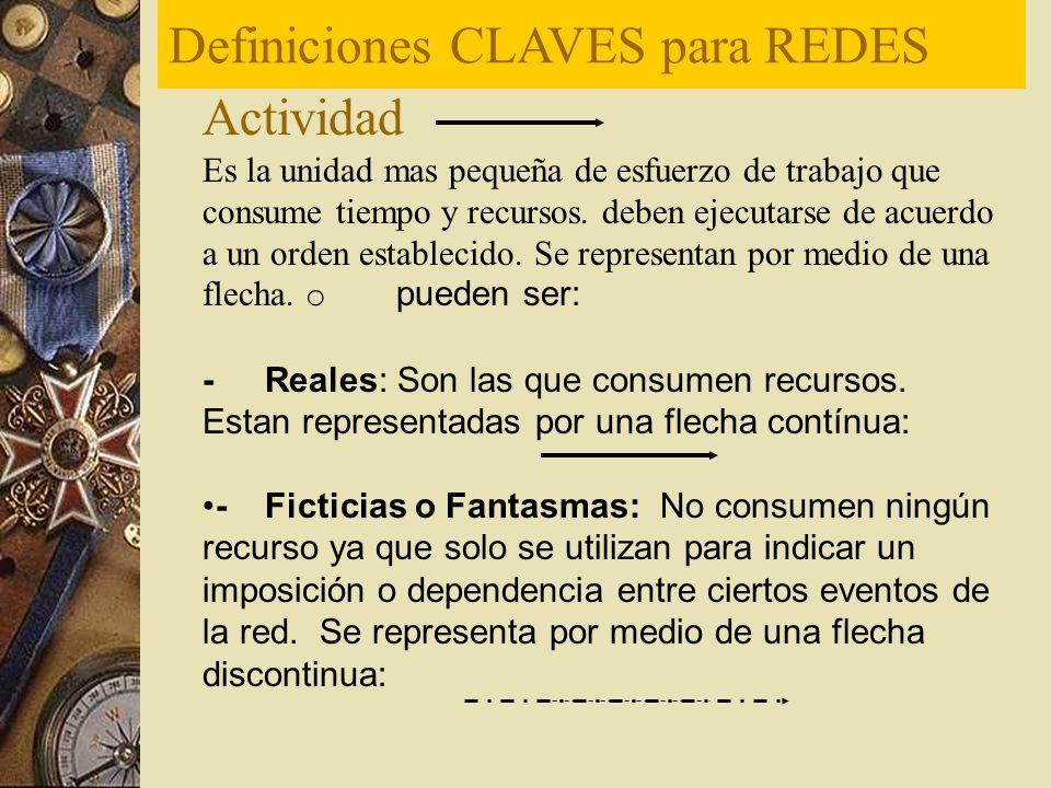 Definiciones CLAVES para REDES Actividad Es la unidad mas pequeña de esfuerzo de trabajo que consume tiempo y recursos. deben ejecutarse de acuerdo a