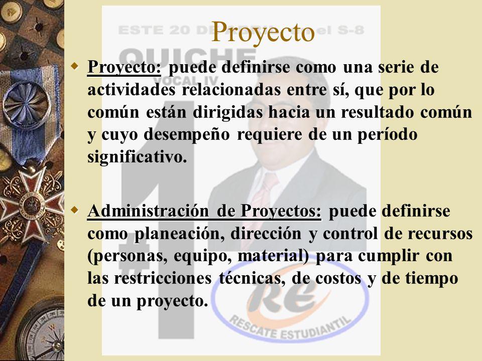 Proyecto Proyecto: Proyecto: puede definirse como una serie de actividades relacionadas entre sí, que por lo común están dirigidas hacia un resultado
