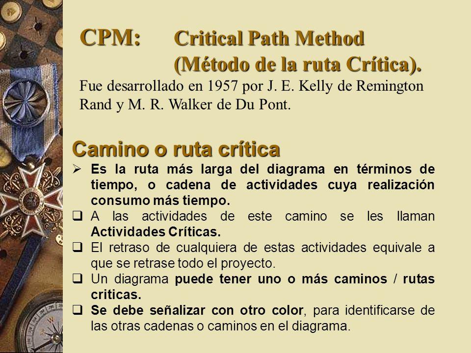 CPM: Critical Path Method (Método de la ruta Crítica). Fue desarrollado en 1957 por J. E. Kelly de Remington Rand y M. R. Walker de Du Pont. Camino o