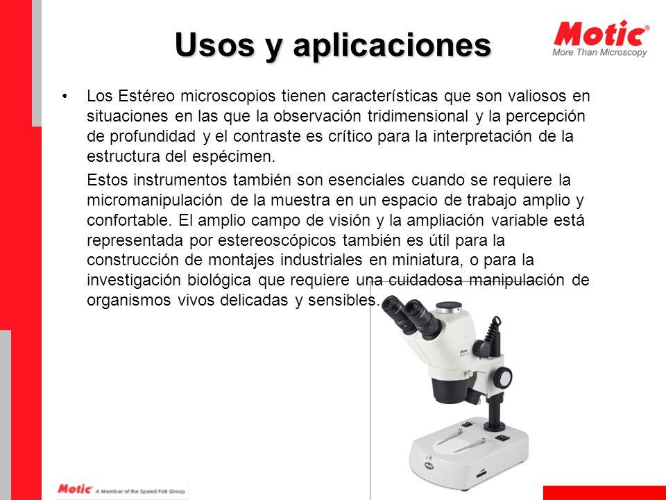 Usos y aplicaciones Teniendo en cuenta la amplia gama de accesorios disponibles actualmente para los sistemas de estéreo microscopio, esta clase de microscopios es extremadamente útil en una multitud de aplicaciones.