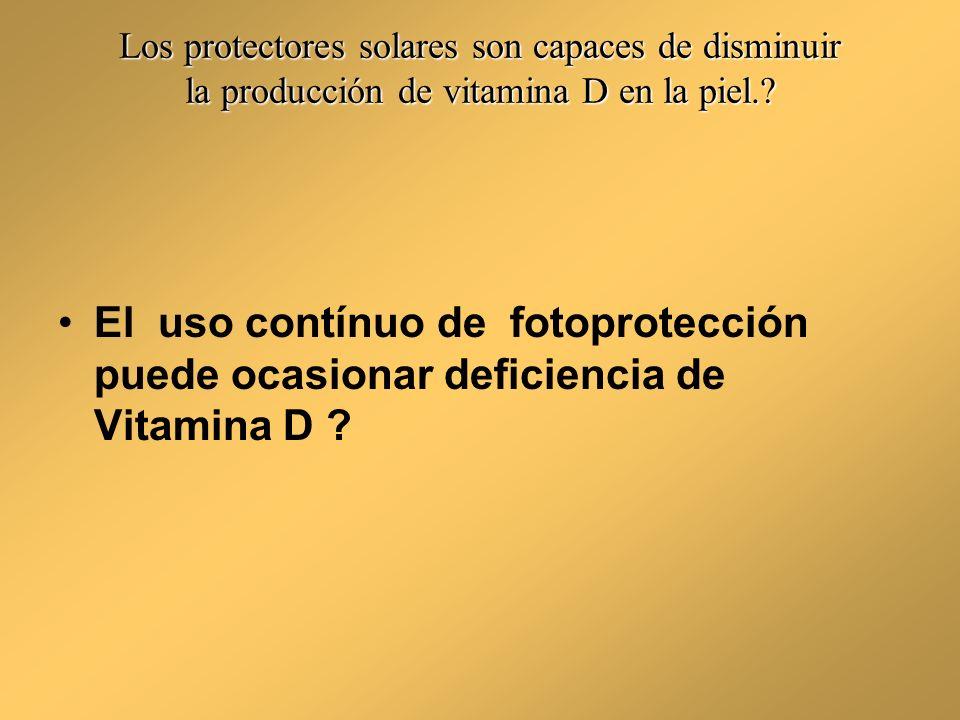Mito En un estudio doble-ciego randomizado controlado comparando el uso de protectores solares contra placebo, los niveles de 25-hidroxivitamina D fueron iguales en cada grupo.