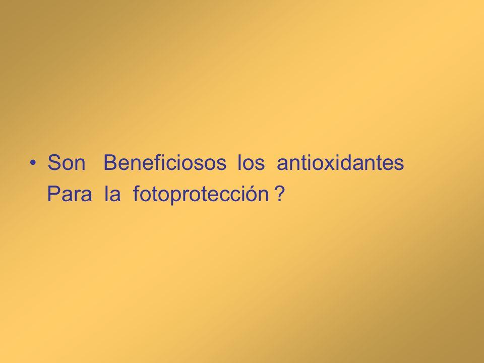 Genisteína (isoflavonoide) aplicado a voluntarios demostró disminución de la injuria solar, disminución de sunburn cells, menor desaparición de células de Langerhans y disminución del daño del DNA, aumento p53 y prevención del daño del colágeno Widyarini S, Husband A, Reeve V.