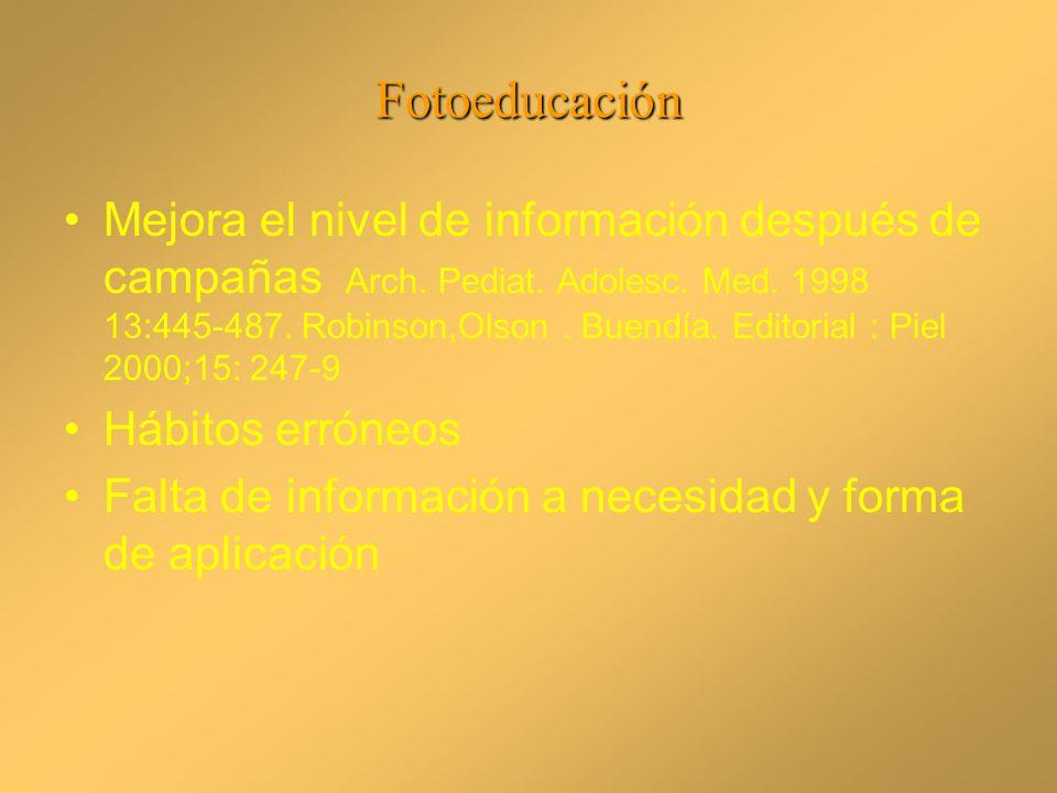 Fotoeducación Mejora el nivel de información después de campañas Arch. Pediat. Adolesc. Med. 1998 13:445-487. Robinson,Olson. Buendía. Editorial : Pie
