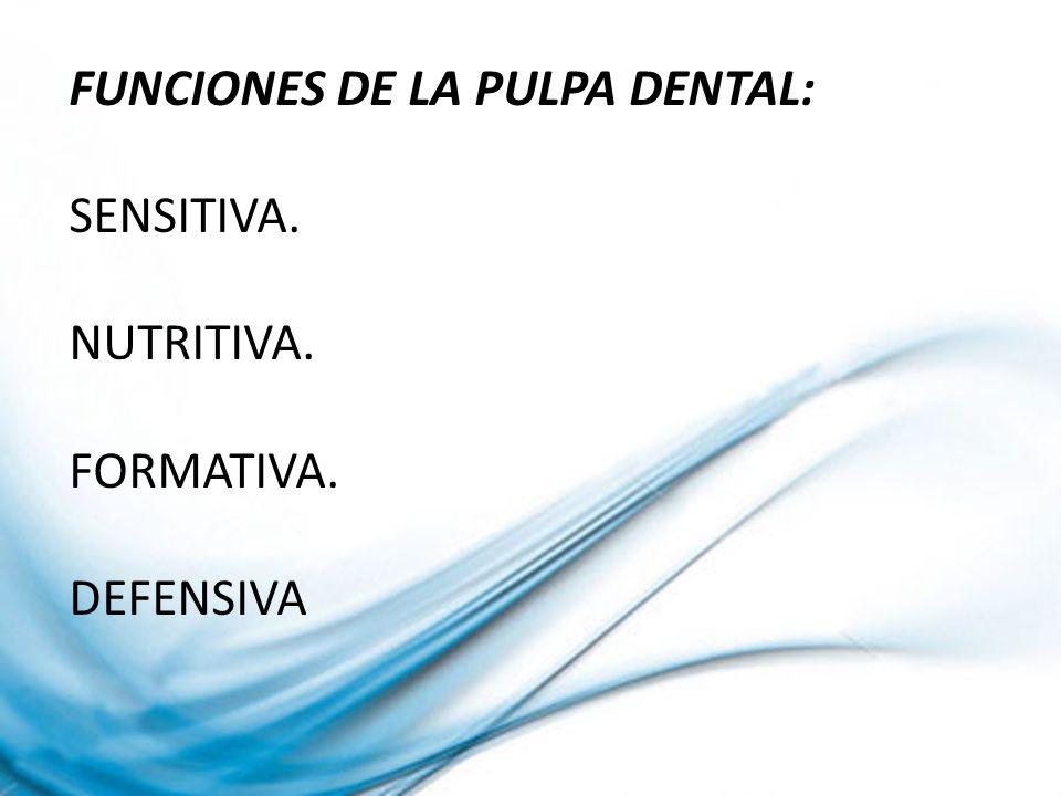 CLASIFICACION DE LA PATOLOGIA PULPAR PULPA SANA PULPITIS REVERSIBLE PULPITIS IRREVERSIBLE AGUDA: INICIAL AVANZADA PULPITIS IRREVERSIBLE CRONICA DEGENERACION PULPAR CALCIFICANTE PROGRESIVA NECROSIS PULPAR