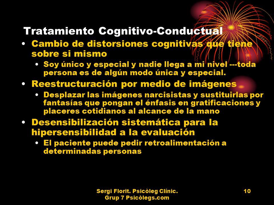Sergi Florit. Psicòleg Clínic. Grup 7 Psicòlegs.com 10 Tratamiento Cognitivo-Conductual Cambio de distorsiones cognitivas que tiene sobre si mismo Soy