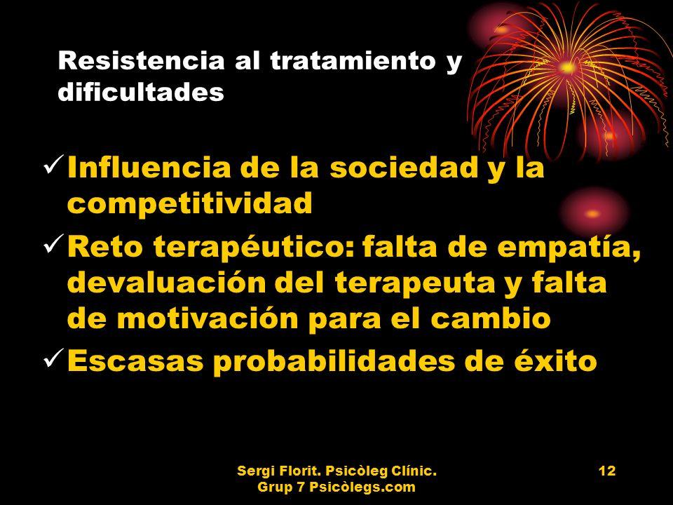 Sergi Florit. Psicòleg Clínic. Grup 7 Psicòlegs.com 12 Resistencia al tratamiento y dificultades Influencia de la sociedad y la competitividad Reto te