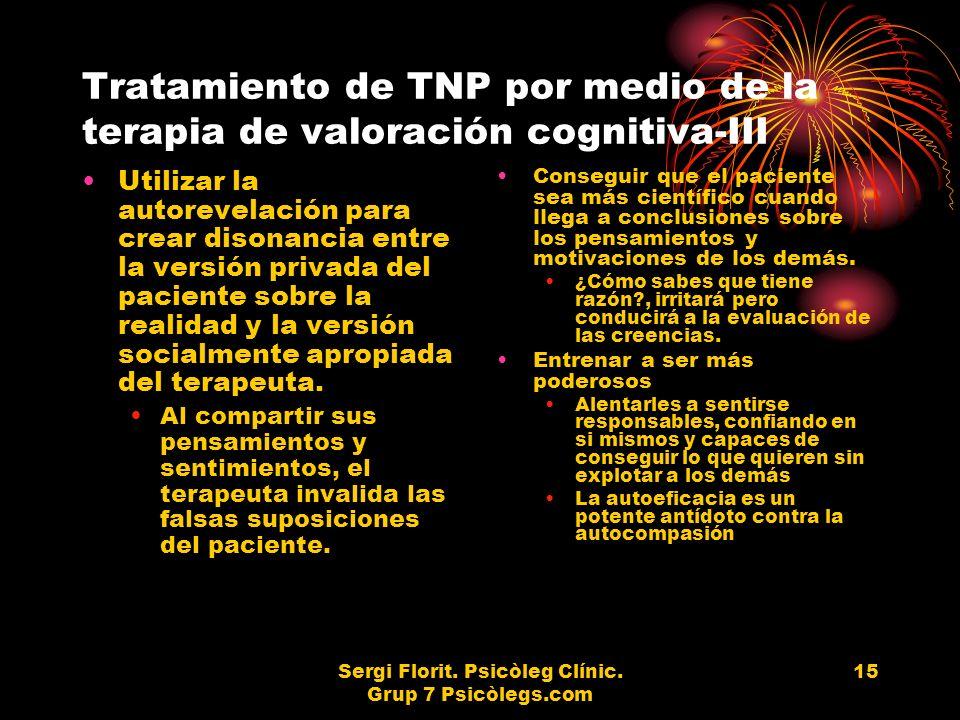 Sergi Florit. Psicòleg Clínic. Grup 7 Psicòlegs.com 15 Tratamiento de TNP por medio de la terapia de valoración cognitiva-III Utilizar la autorevelaci
