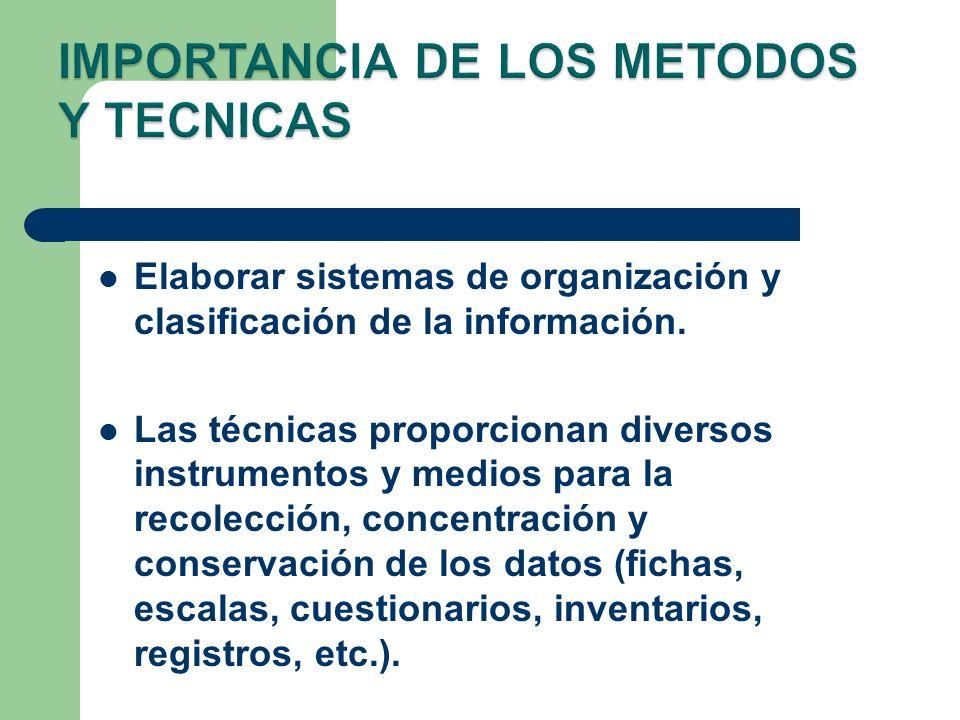 Elaborar sistemas de organización y clasificación de la información. Las técnicas proporcionan diversos instrumentos y medios para la recolección, con