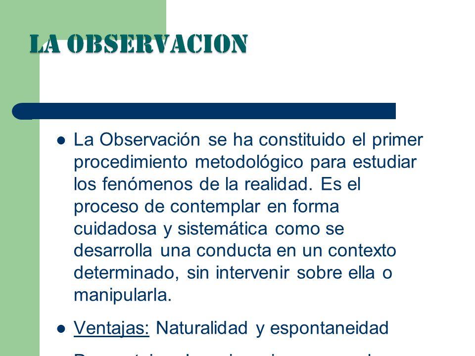 La Observación se ha constituido el primer procedimiento metodológico para estudiar los fenómenos de la realidad. Es el proceso de contemplar en forma