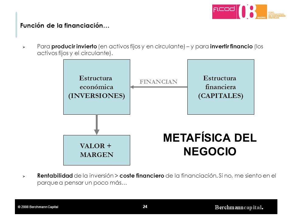 © 2008 Berchmann Capital 24 Función de la financiación… Para producir invierto (en activos fijos y en circulante) – y para invertir financio (los acti