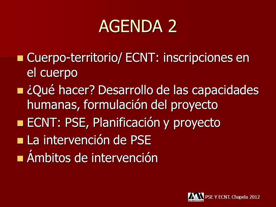 AGENDA 2 PSE Y ECNT. Chapela 2012 Cuerpo-territorio/ ECNT: inscripciones en el cuerpo Cuerpo-territorio/ ECNT: inscripciones en el cuerpo ¿Qué hacer?