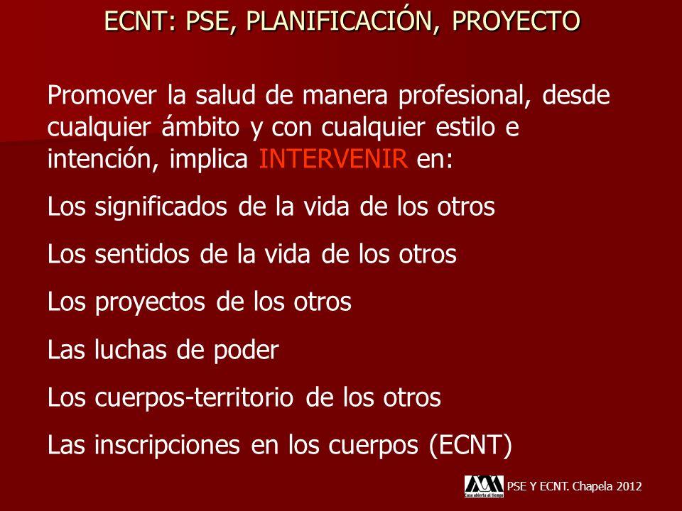 ECNT: PSE, PLANIFICACIÓN, PROYECTO PSE Y ECNT. Chapela 2012 Promover la salud de manera profesional, desde cualquier ámbito y con cualquier estilo e i