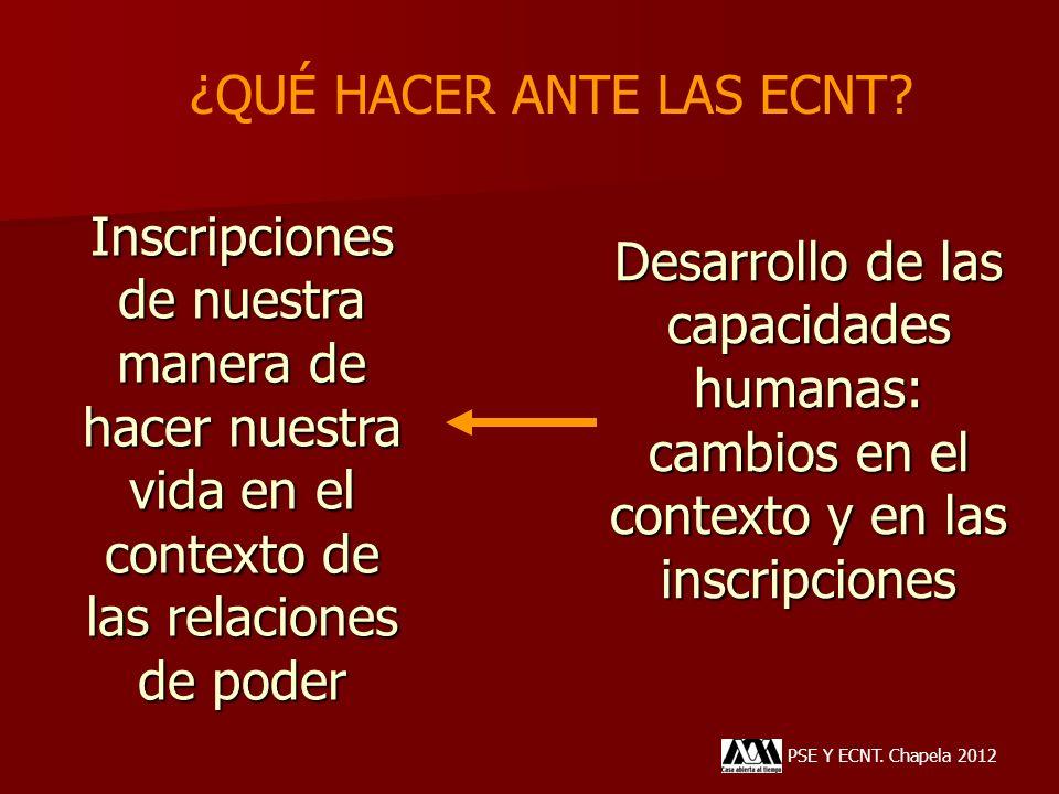 Desarrollo de las capacidades humanas: cambios en el contexto y en las inscripciones PSE Y ECNT. Chapela 2012 Inscripciones de nuestra manera de hacer