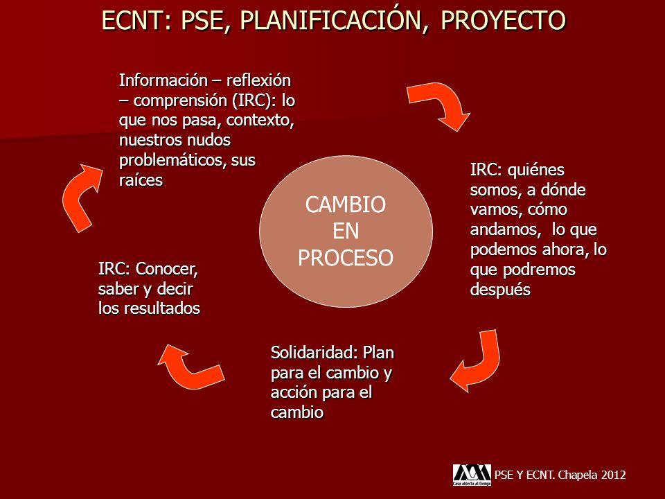 ECNT: PSE, PLANIFICACIÓN, PROYECTO PSE Y ECNT. Chapela 2012 Información – reflexión – comprensión (IRC): lo que nos pasa, contexto, nuestros nudos pro