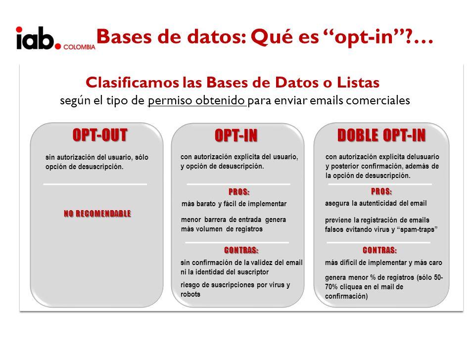 OPT-IN Clasificamos las Bases de Datos o Listas según el tipo de permiso obtenido para enviar emails comerciales DOBLE OPT-IN OPT-OUT con autorización