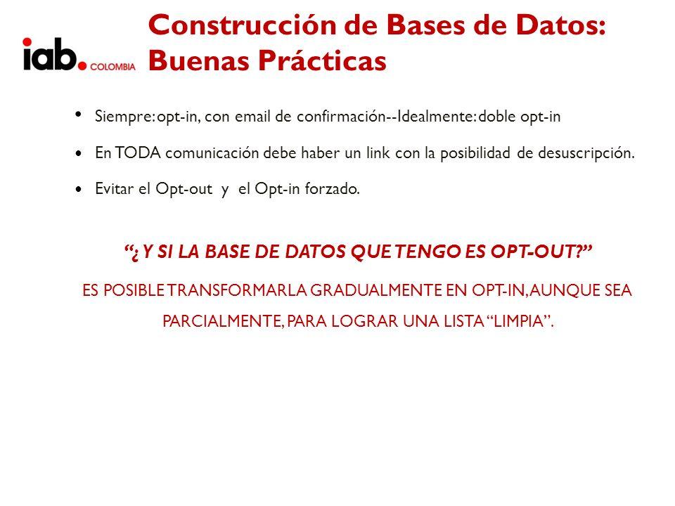 Construcción de Bases de Datos: Buenas Prácticas Siempre: opt-in, con email de confirmación--Idealmente: doble opt-in En TODA comunicación debe haber