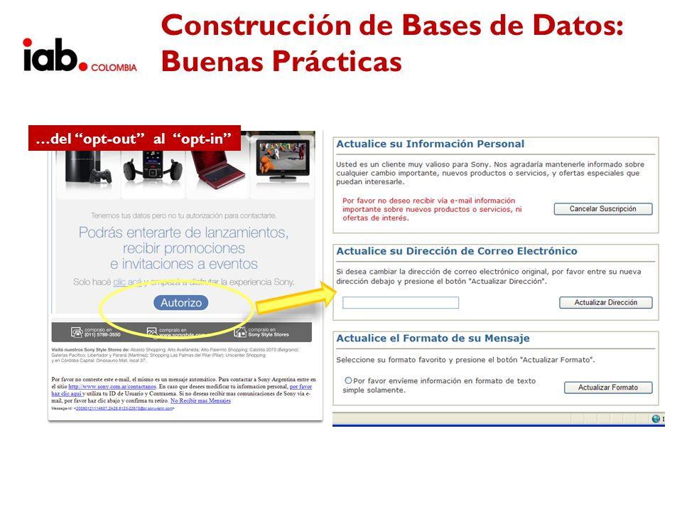 Construcción de Bases de Datos: Buenas Prácticas …del opt-out al opt-in