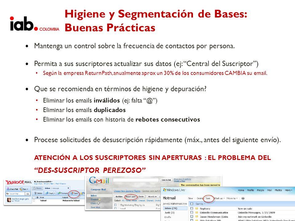 Higiene y Segmentación de Bases: Buenas Prácticas Mantenga un control sobre la frecuencia de contactos por persona. Permita a sus suscriptores actuali