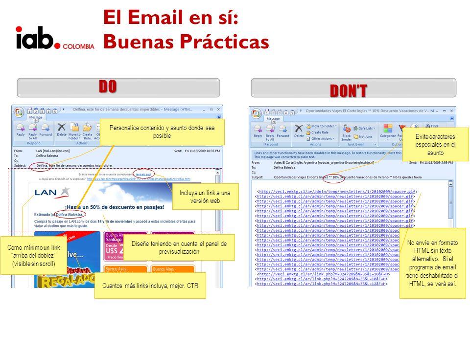 El Email en sí: Buenas Prácticas DONT DO Personalice contenido y asunto donde sea posible Diseñe teniendo en cuenta el panel de previsualización Inclu
