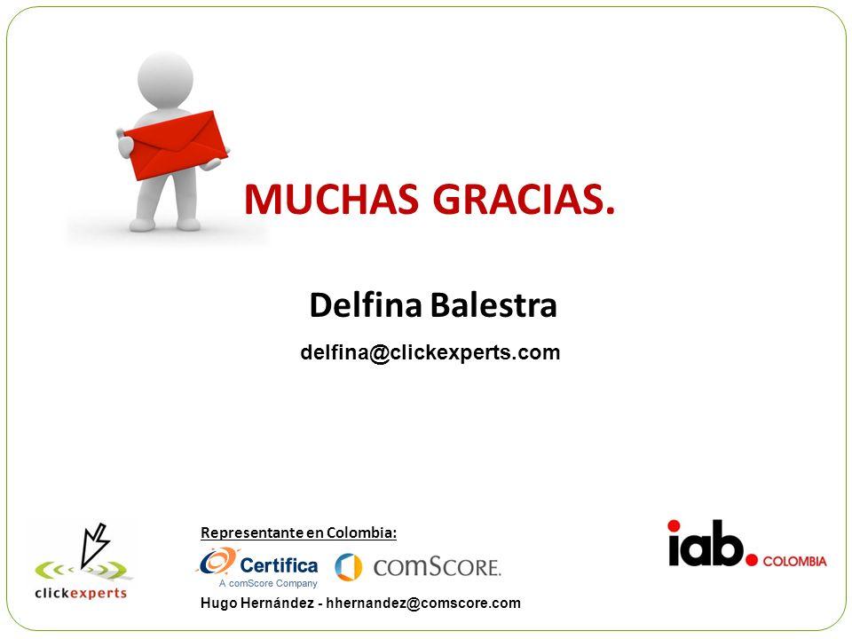MUCHAS GRACIAS. Delfina Balestra delfina@clickexperts.com Representante en Colombia: Hugo Hernández - hhernandez@comscore.com