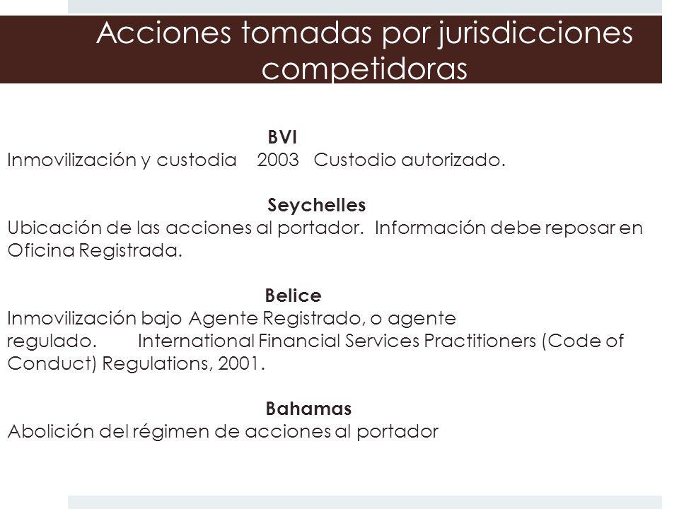 Acciones tomadas por jurisdicciones competidoras BVI Inmovilización y custodia 2003 Custodio autorizado. Seychelles Ubicación de las acciones al porta