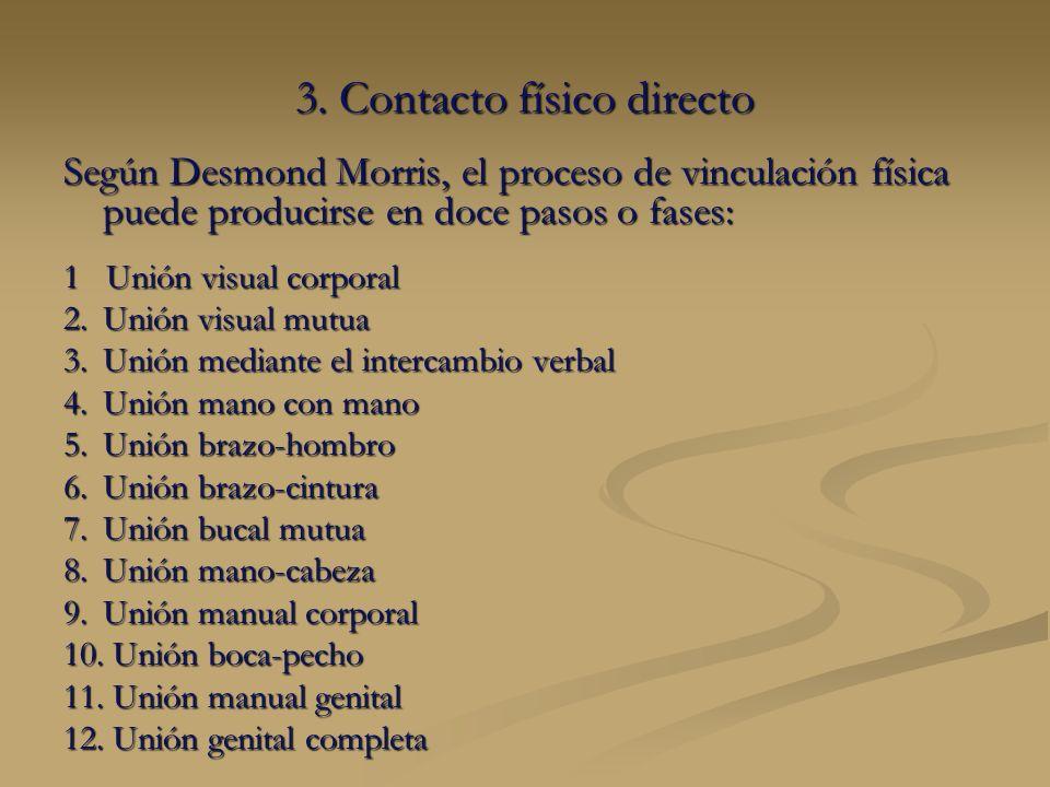 3. Contacto físico directo Según Desmond Morris, el proceso de vinculación física puede producirse en doce pasos o fases: 1 Unión visual corporal 2.Un