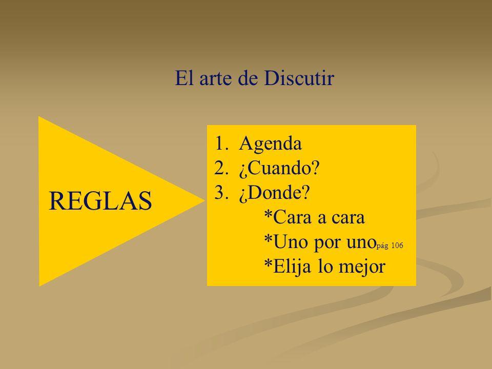 El arte de Discutir 1.Agenda 2.¿Cuando? 3.¿Donde? *Cara a cara *Uno por uno pág 106 *Elija lo mejor REGLAS