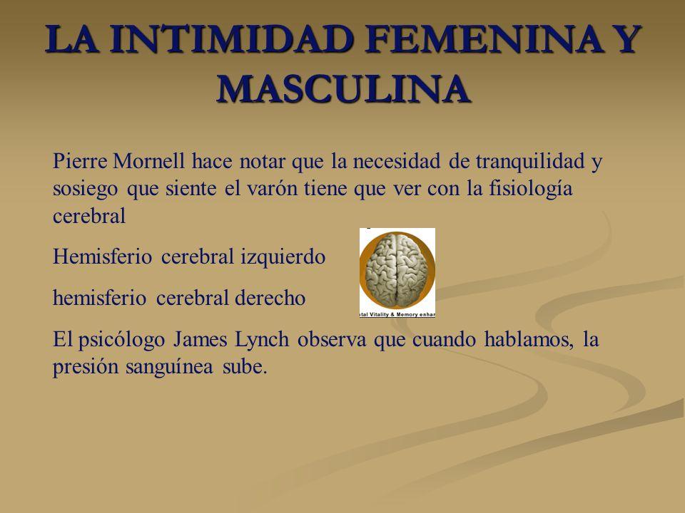 LA INTIMIDAD FEMENINA Y MASCULINA Pierre Mornell hace notar que la necesidad de tranquilidad y sosiego que siente el varón tiene que ver con la fisiol