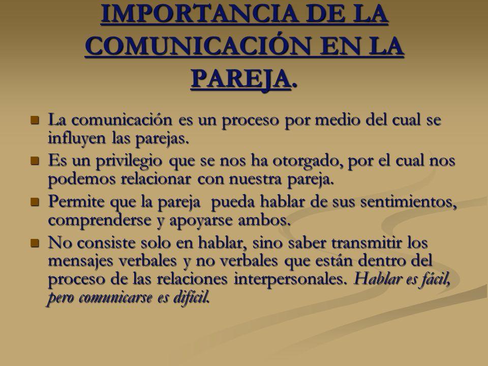 IMPORTANCIA DE LA COMUNICACIÓN EN LA PAREJA. La comunicación es un proceso por medio del cual se influyen las parejas. La comunicación es un proceso p