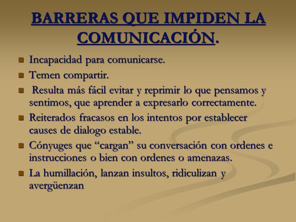 BARRERAS QUE IMPIDEN LA COMUNICACIÓN. Incapacidad para comunicarse. Incapacidad para comunicarse. Temen compartir. Temen compartir. Resulta más fácil
