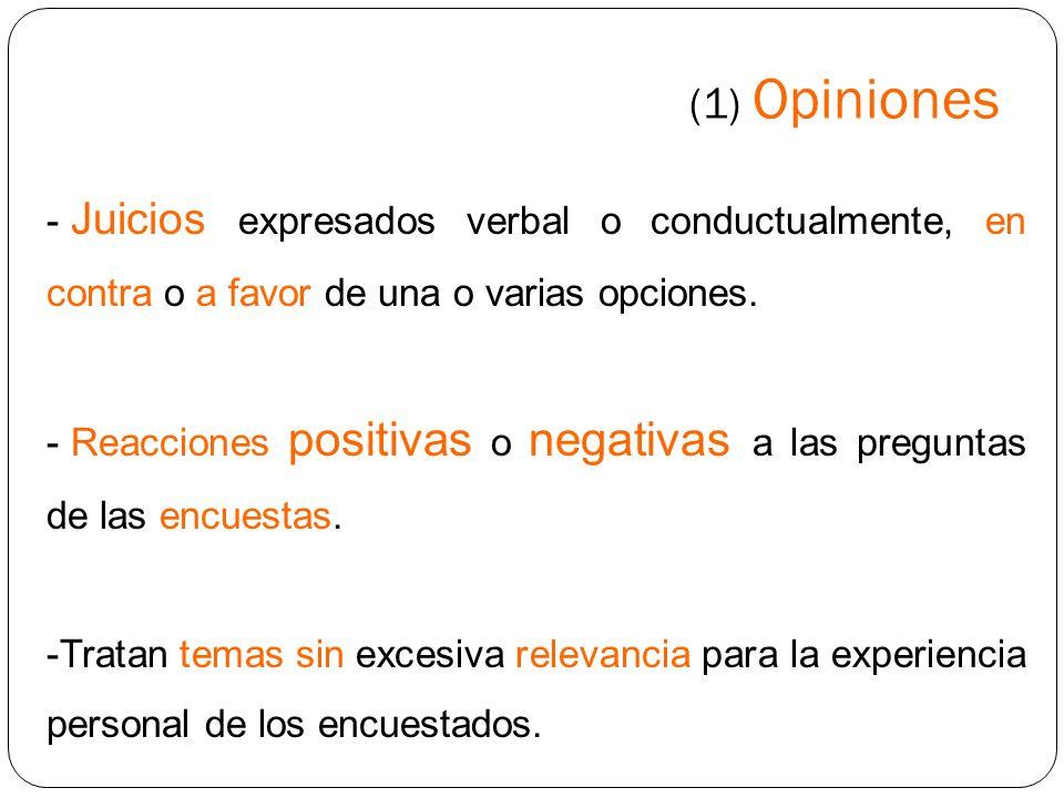 (1) Opiniones - Resultan manipulables con las preguntas de los sondeos o las informaciones periodísticas.
