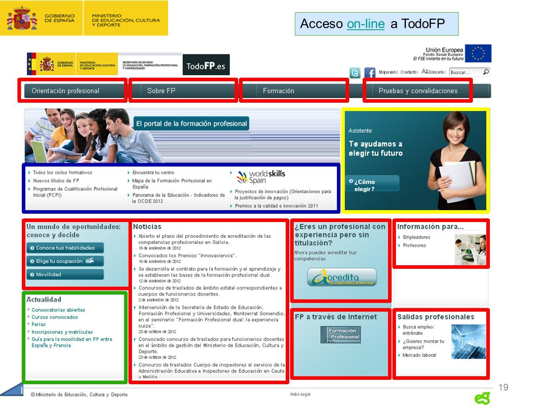 CONTRATO FORMACIÓN Y APRENDIZAJE Y FORMACIÓN PROFESIONAL DUAL 19 Inicio Acceso on-line a TodoFPon-line