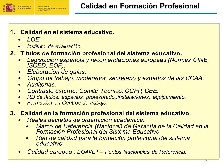 CONTRATO FORMACIÓN Y APRENDIZAJE Y FORMACIÓN PROFESIONAL DUAL 54 1.Calidad en el sistema educativo. LOE. Instituto de evaluación. 2.Títulos de formaci