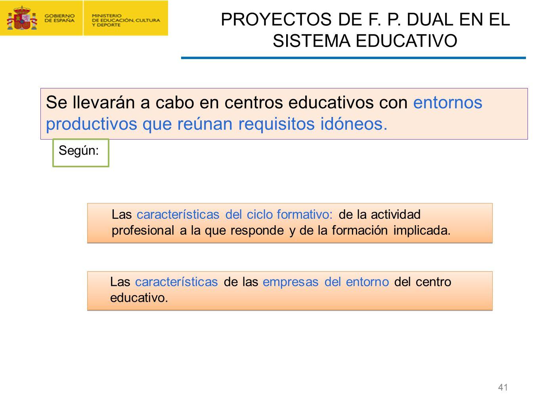 CONTRATO FORMACIÓN Y APRENDIZAJE Y FORMACIÓN PROFESIONAL DUAL 41 Se llevarán a cabo en centros educativos con entornos productivos que reúnan requisit