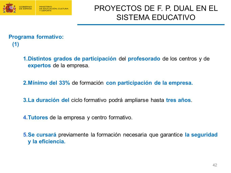 CONTRATO FORMACIÓN Y APRENDIZAJE Y FORMACIÓN PROFESIONAL DUAL 42 1.Distintos grados de participación del profesorado de los centros y de expertos de l